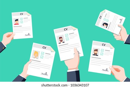 hands holding cv papers human resources management concept searching professional staff analyzing resume