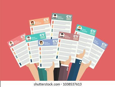 Hands holding cv resume documents. Applying for job