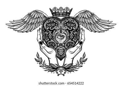 Hands holding a decorative heart with a mystic eye and wings.Vintage alchemy and gothic style inspired art. Vector illustration isolated. Tattoo design, trendy romance symbol of luck,religion.