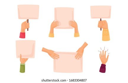 Hands Holding Different Banners and Billboards Protesting Against Something Vector Set