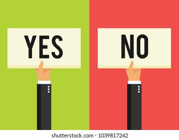 Hands holding different sign. Yes or No. Vector stock.