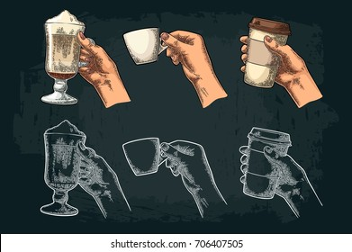 Hands holding a disposable cup of coffee with cardboard holder and glass of latte with whipped cream. Vintage white and color vector engraving illustration. Isolated on dark background