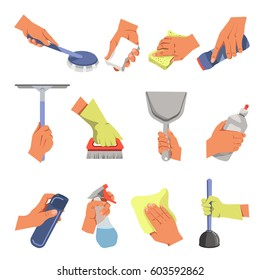 Hands holding domestic cleaning tools. Vector flat icons of floor cloth or duster rag, dust broom and cleansing brush, toilet or bath plunger and window cleanser spray or scraper