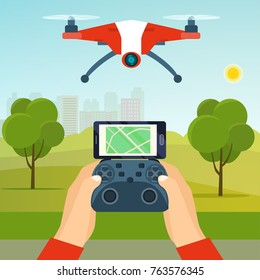 Hands holding drone's controller. Flying drone quadcopter in the park. Vector flat illustration