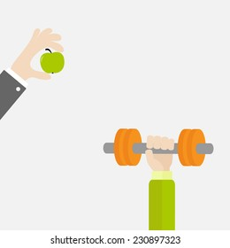 Hands holding dumbbell and apple  Sport Fitness healthy lifestyle concept Flat design Vector illustration