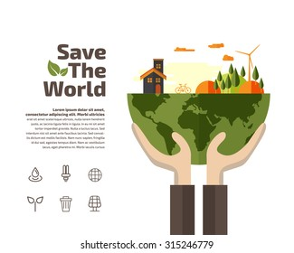 Hands holding Earth with ecology symbols, Ecology concept.