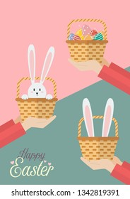 Hands are holding Easter baskets. Easter greeting card