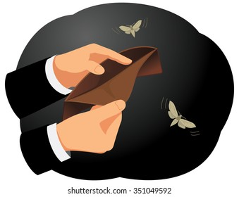 Hands are holding an empty wallet. Moths flying around. Finance and economy.