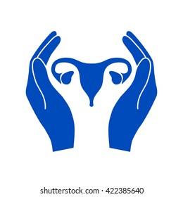 Hands holding Female uterus - protection symbol.