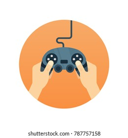 Hands holding gamepad - flat vector icon. Leisure gamer concept.
