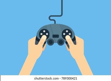 Hands holding gamepad - flat vector iillustration. Leisure gamer concept.