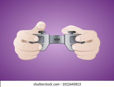 Hands holding gamepad. Game concept. Joystick isolated on purple background. Vector illustration.