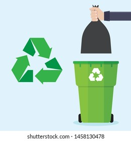 Hands holding garbage bags and trash bins, recycled icons, with a blue background flat design vector illustration