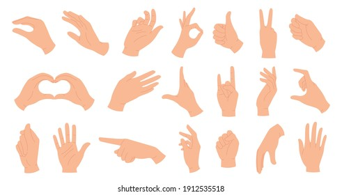 Hands holding gestures. Elegant female and male hand showing heart, ok, like, pointing finger and waving palm. Trendy hands poses vector set. Body language signs and symbols for communication