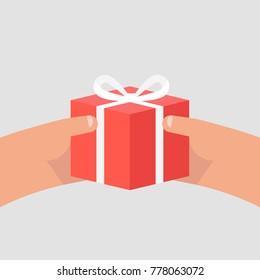 Hands holding a gift box. Birthday. Anniversary. Celebration. POV. Flat editable vector illustration, clip art
