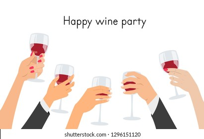 Hands holding a glasses with red wine. Vector illustration.