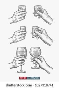 Hands holding glasses set. Template for your design works. Engraved style vector illustration.