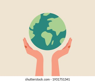 Hands holding globe, earth. Earth day concept. Earth day vector illustration for poster, banner,print,web. Saving the planet,environment.Modern cartoon flat style illustration