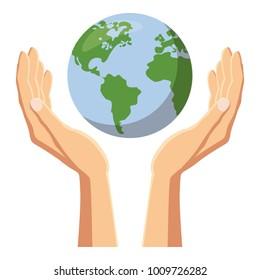Hands holding globe earth icon. Cartoon illustration of hands holding globe earth vector icon for web