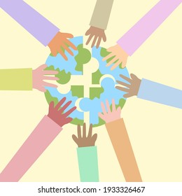 Hands holding globe.Unity and teamwork concept.Multi-ethnic beauty.People of various nationalities and skin color.Earth day on 22nd april.Peace and calm poster.Jigsaw puzzle.