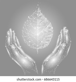 Hands holding gray white leaf. Eco environment saving protection concept. Low poly connected dots triangle future technology design background vector illustration