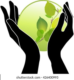Hands holding green plants in a ball, eco vector symbol