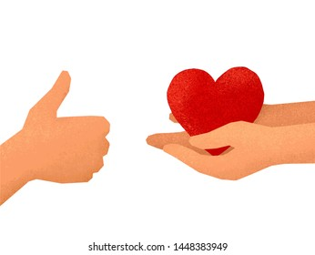 Hands holding hands and hand showing thumbs up - vector like symbols illustration isolated on white background