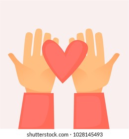 Hands holding a heart. Flat design vector illustration.