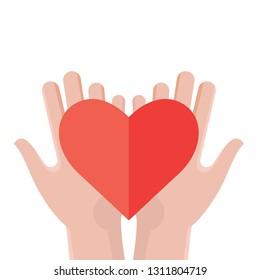 Hands holding a heart. Flat design vector illustration. - Vector illustration