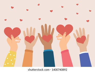 Hands holding a heart, give and share love to people concept.