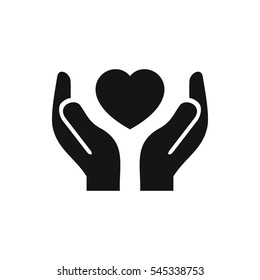 hands holding heart icon illustration isolated vector sign symbol