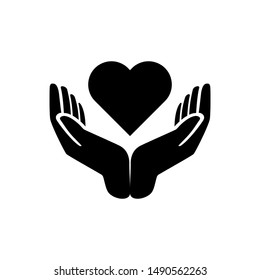 Hands holding heart icon. Simple illustration of hands holding heart icon for web design. Healthcare hands holding heart flat vector icon for apps and website.