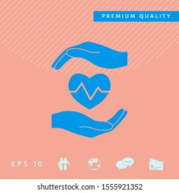 Hands holding heart. Medical icon. Graphic elements for your design
