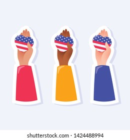 Hands holding hearts. 4th of July, United States Independence Day related symbols. Stars and Stripes. Flat design signs isolated on background