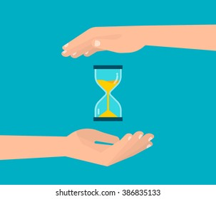 Hands holding a hourglass. Business and time management concept. Isolated vector illustration flat design.