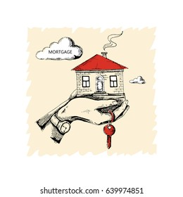 Hands holding the house. Acquisition of real estate for mortgages. The keys to the house. Vector illustration of a sketch. Hand-drawn.