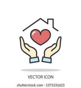 Hands holding house with heart icon, line sign on white background - editable stroke vector illustration eps10
