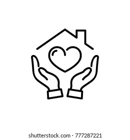 Hands holding house with heart  icon vector