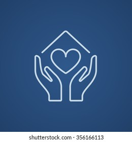 Hands holding house symbol with heart shape line icon for web, mobile and infographics. Vector light blue icon isolated on blue background.