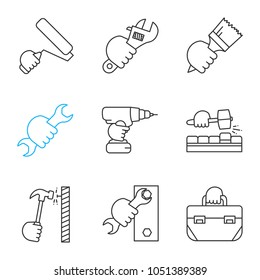 Hands holding instruments linear icons set. Paint roller, plumbing wrench, brush, spanner, electric screwdriver, lump hammer, tool bag. Thin line contour symbols. Isolated vector outline illustrations