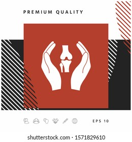 Hands holding knee-joint - protection icon. Graphic elements for your design