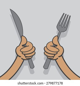 Hands holding up a knife and fork