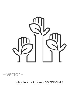 hands holding leaves icon, green environmental, eco thinking, thin line web symbol on white background - editable stroke vector illustration eps10