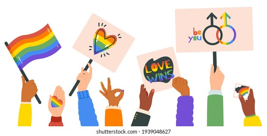 Hands holding lgbt posters. People crowd with rainbow flag, gender signs and hearts, lgbtq community, pride month. Gay parade placards vector illustration set