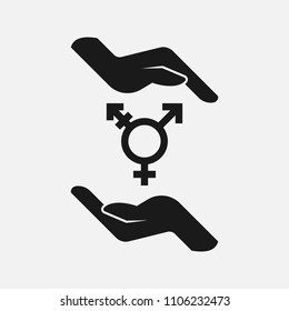 Hands holding lgbt symbol black and white vector icon.