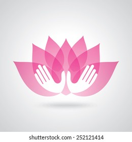Hands holding a Lotus flower vector icon