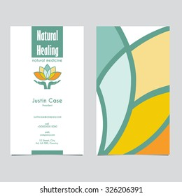 Hands holding Lotus Flower vector icon & Business Card design template for Alternative Medicine, Yoga Club, Beauty Industry, Natural Cosmetics, Healing, Acupuncture, Massage & Recreation. Editable