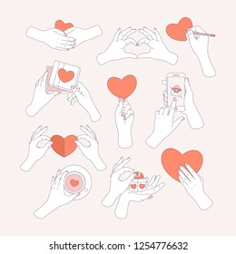 Hands holding love symbols. Love message, greeting card, gift, tea cup. Saint Valentines day. Vector illustration