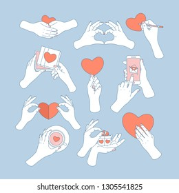 Hands holding love symbols. Love message, greeting card, gift box, tea cup. Saint Valentines day. Vector illustration