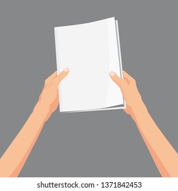 Hands holding a magazine, brochure, book. Template, vector, illustration. isolated, cartoon style